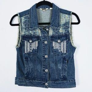 Miss Me Denim Jean Distressed Vest #2076